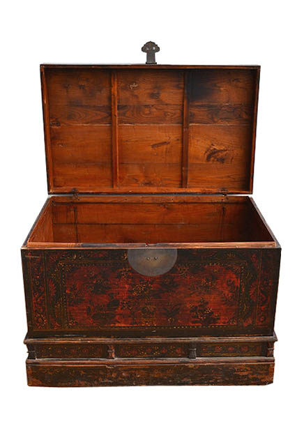 chinese antique wood painted trunk storage chest c151 3 ebay On painted wooden chest