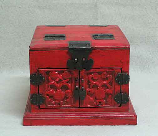 Details about lovely chinese antique red carved jewelry box m08 511